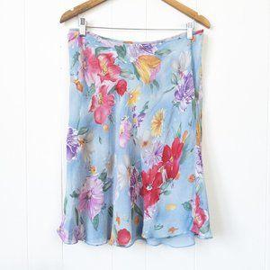 Lauren Ralph Lauren Floral  Silk Skirt, Size 14